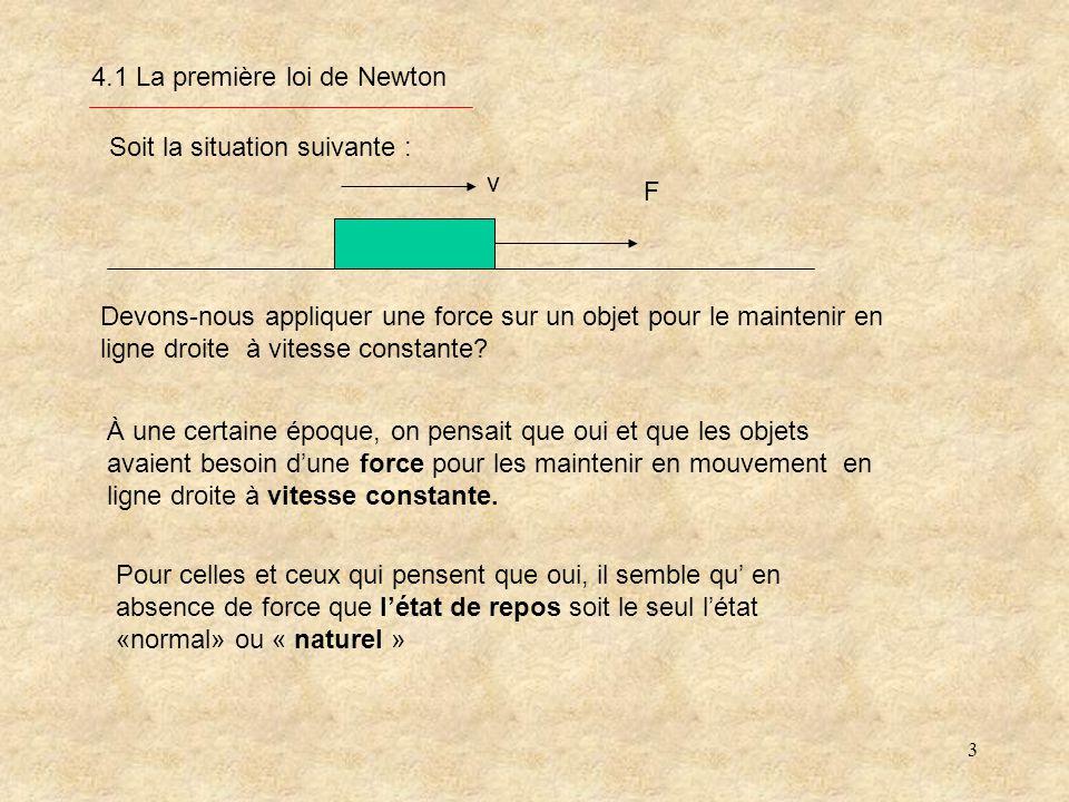 3 4.1 La première loi de Newton À une certaine époque, on pensait que oui et que les objets avaient besoin dune force pour les maintenir en mouvement en ligne droite à vitesse constante.