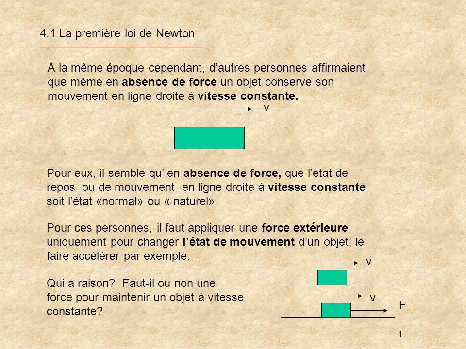 4 4.1 La première loi de Newton À la même époque cependant, dautres personnes affirmaient que même en absence de force un objet conserve son mouvement en ligne droite à vitesse constante.