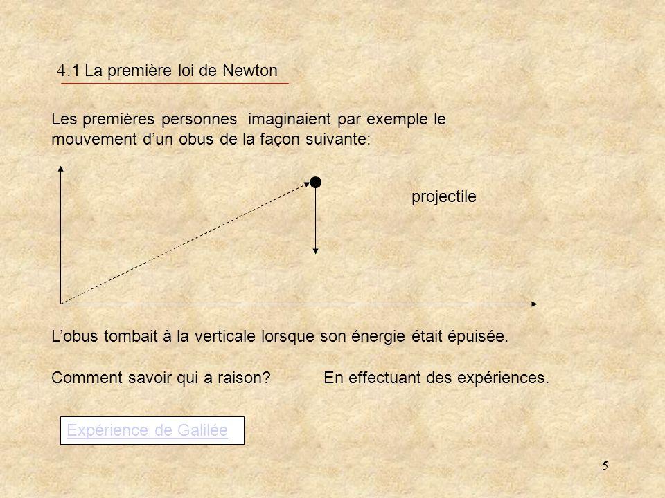 5 4.1 La première loi de Newton Les premières personnes imaginaient par exemple le mouvement dun obus de la façon suivante: Lobus tombait à la verticale lorsque son énergie était épuisée.