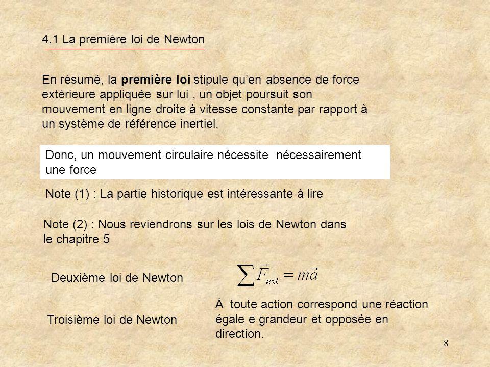 8 4.1 La première loi de Newton Note (1) : La partie historique est intéressante à lire Note (2) : Nous reviendrons sur les lois de Newton dans le chapitre 5 En résumé, la première loi stipule quen absence de force extérieure appliquée sur lui, un objet poursuit son mouvement en ligne droite à vitesse constante par rapport à un système de référence inertiel.