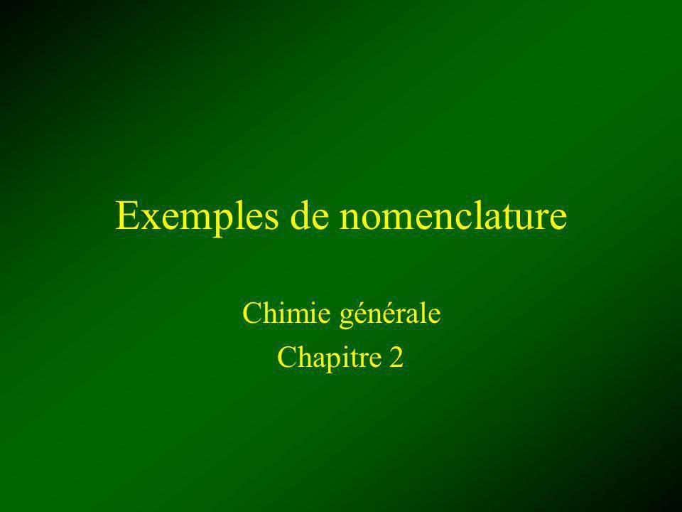 Exemples de nomenclature Chimie générale Chapitre 2