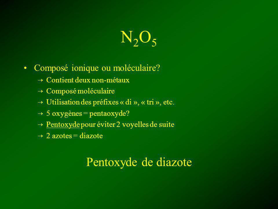 N2O5N2O5 Composé ionique ou moléculaire? Contient deux non-métaux Composé moléculaire Utilisation des préfixes « di », « tri », etc. 5 oxygènes = pent