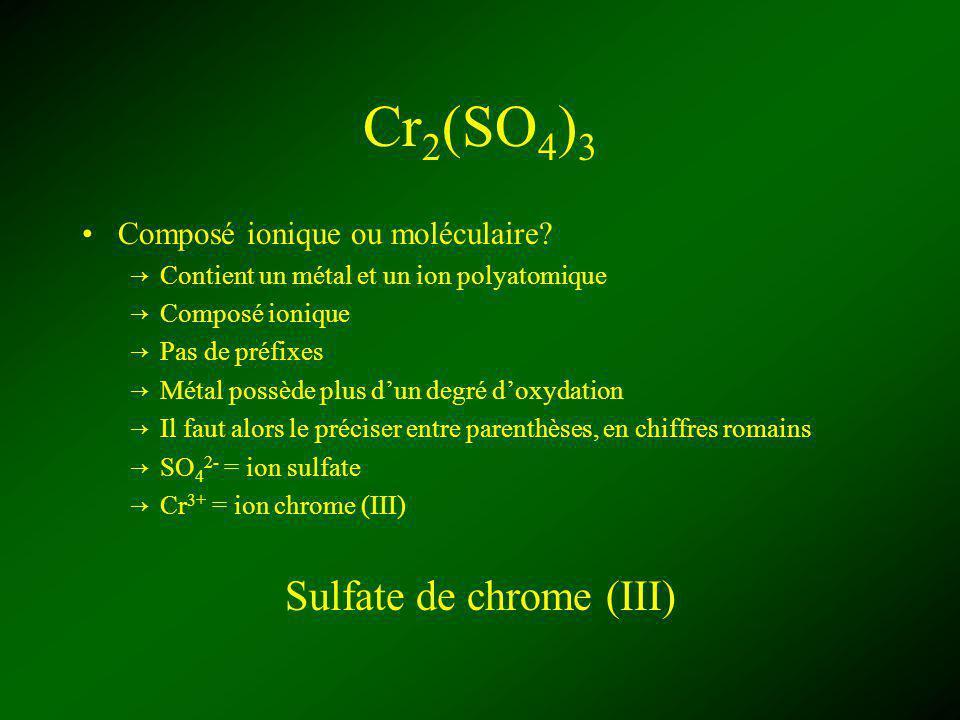 Cr 2 (SO 4 ) 3 Composé ionique ou moléculaire? Contient un métal et un ion polyatomique Composé ionique Pas de préfixes Métal possède plus dun degré d
