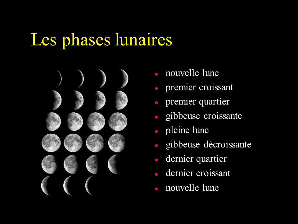 Les phases lunaires l nouvelle lune l premier croissant l premier quartier l gibbeuse croissante l pleine lune l gibbeuse décroissante l dernier quartier l dernier croissant l nouvelle lune
