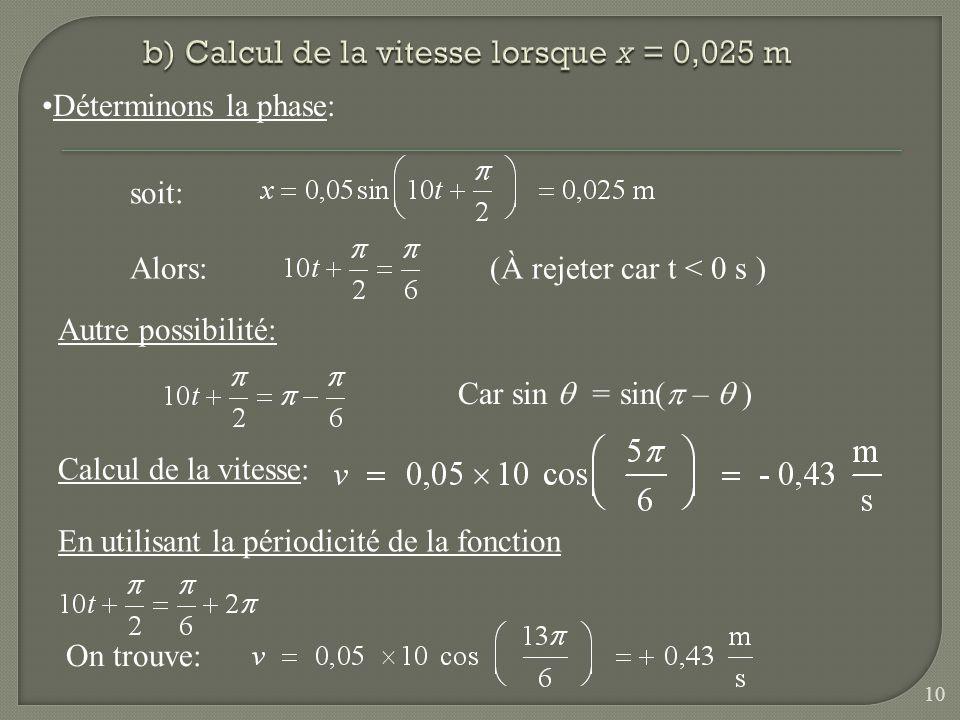 Déterminons la phase: Autre possibilité: soit: Car sin = sin( – ) Alors:(À rejeter car t < 0 s ) Calcul de la vitesse: En utilisant la périodicité de