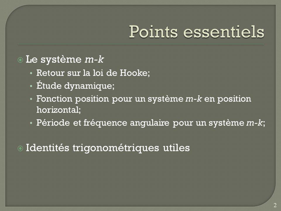 Le système m-k Retour sur la loi de Hooke; Étude dynamique; Fonction position pour un système m-k en position horizontal; Période et fréquence angulai
