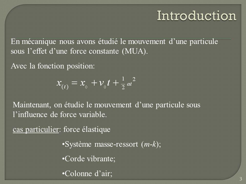 En mécanique nous avons étudié le mouvement dune particule sous leffet dune force constante (MUA). Avec la fonction position: Maintenant, on étudie le