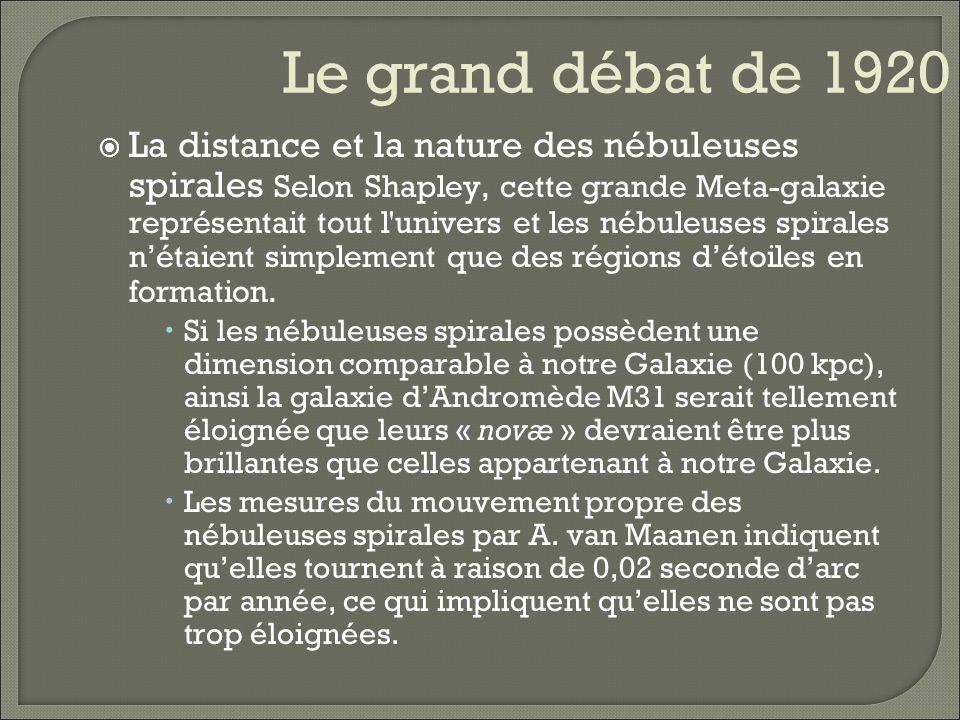 Le grand débat de 1920 La distance et la nature des nébuleuses spirales Selon Curtis, les nébuleuses spirales étaient des systèmes d étoiles - des univers-île semblables à notre propre Galaxie.