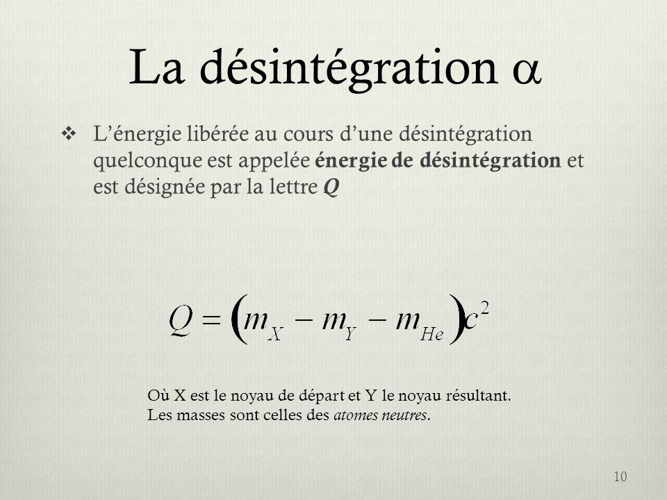 La désintégration Lénergie libérée au cours dune désintégration quelconque est appelée énergie de désintégration et est désignée par la lettre Q 10 Où
