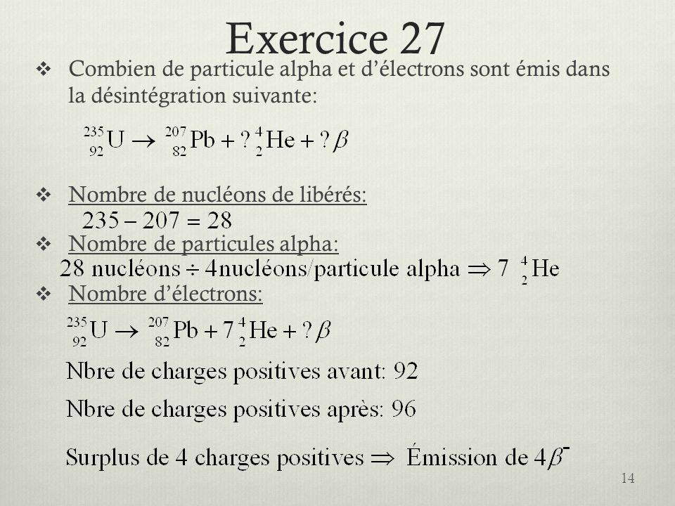 Exercice 27 Combien de particule alpha et délectrons sont émis dans la désintégration suivante: Nombre de nucléons de libérés: Nombre de particules al