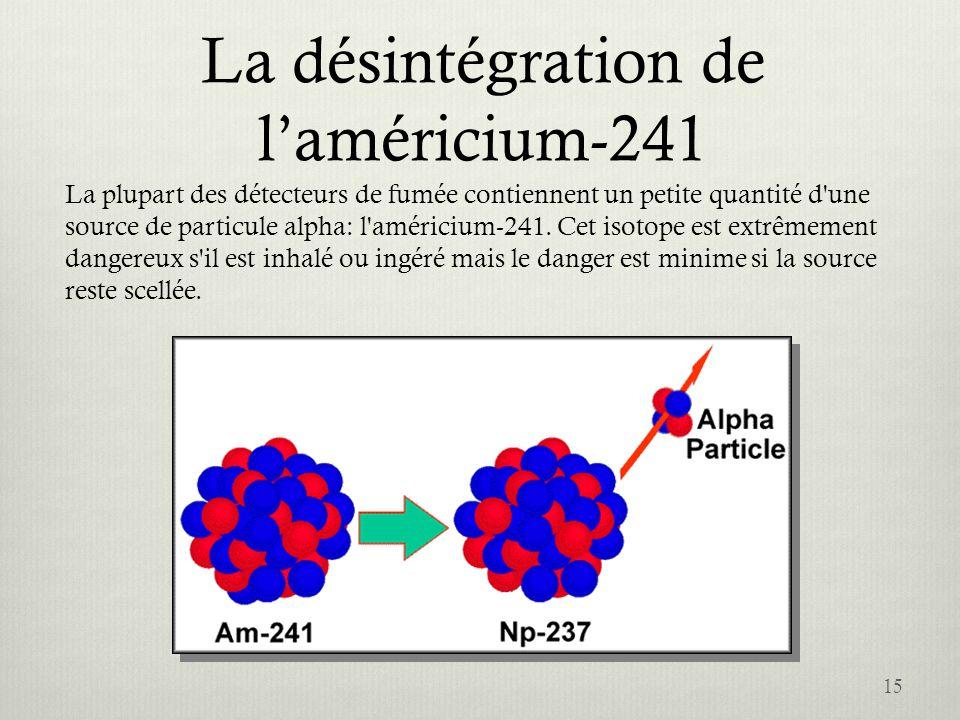 La désintégration de laméricium-241 15 La plupart des détecteurs de fumée contiennent un petite quantité d'une source de particule alpha: l'américium-