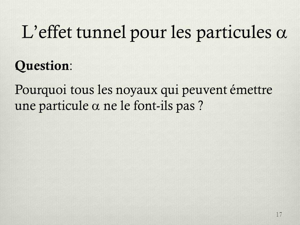 Leffet tunnel pour les particules 17 Question : Pourquoi tous les noyaux qui peuvent émettre une particule ne le font-ils pas ?