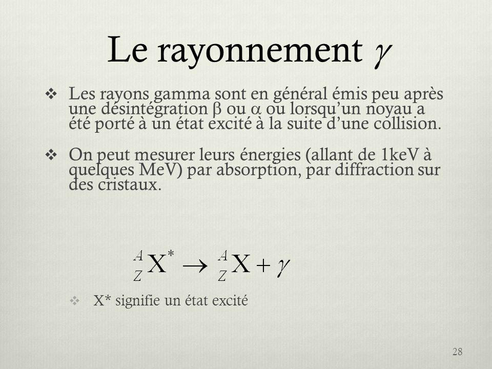 Le rayonnement Les rayons gamma sont en général émis peu après une désintégration ou ou lorsquun noyau a été porté à un état excité à la suite dune co