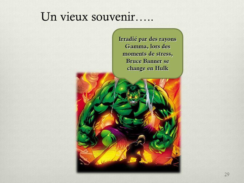 29 Irradié par des rayons Gamma, lors des moments de stress, Bruce Banner se change en Hulk Un vieux souvenir…..
