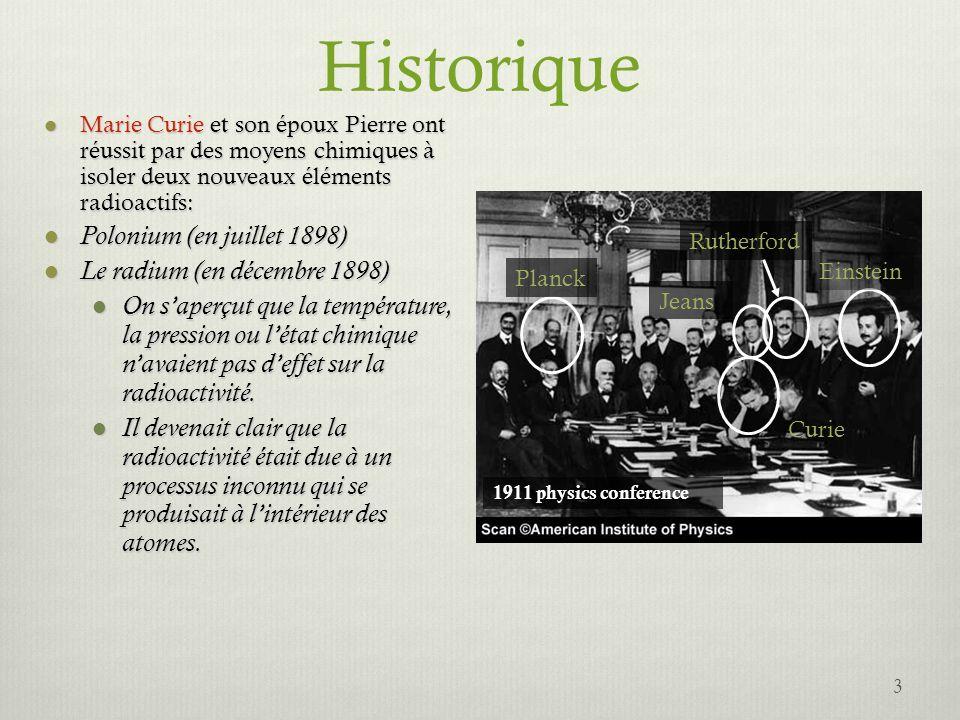 Historique 3 Marie Curie et son époux Pierre ont réussit par des moyens chimiques à isoler deux nouveaux éléments radioactifs: Marie Curie et son épou