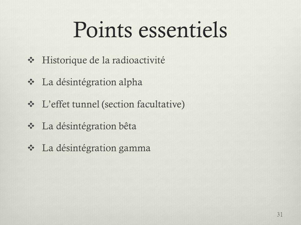 Points essentiels Historique de la radioactivité La désintégration alpha Leffet tunnel (section facultative) La désintégration bêta La désintégration
