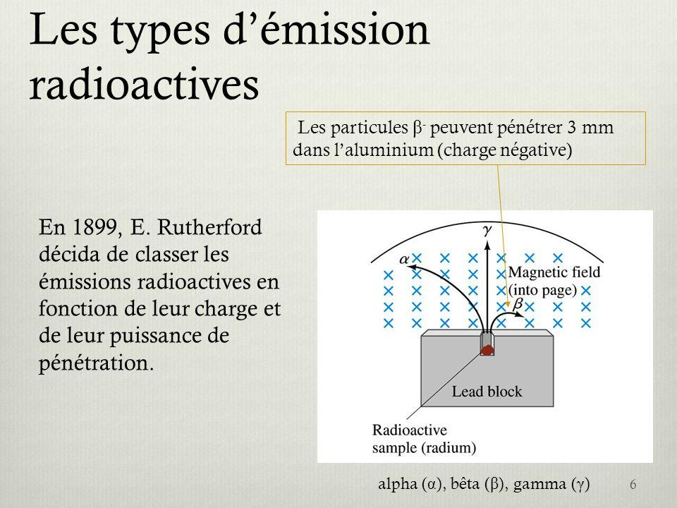 Le rayonnement Équation générale pour le rayonnement Les rayons qui sont des photons de haute énergie, sont produits au cours des transitions des noyaux entre divers niveaux dénergie.