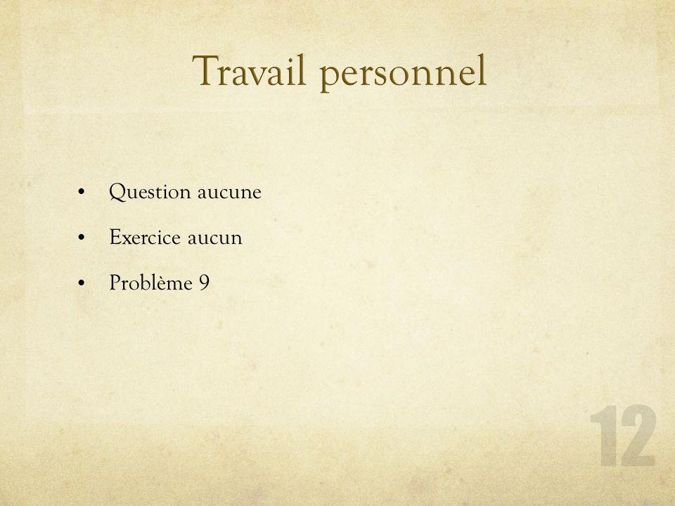 Question aucune Exercice aucun Problème 9