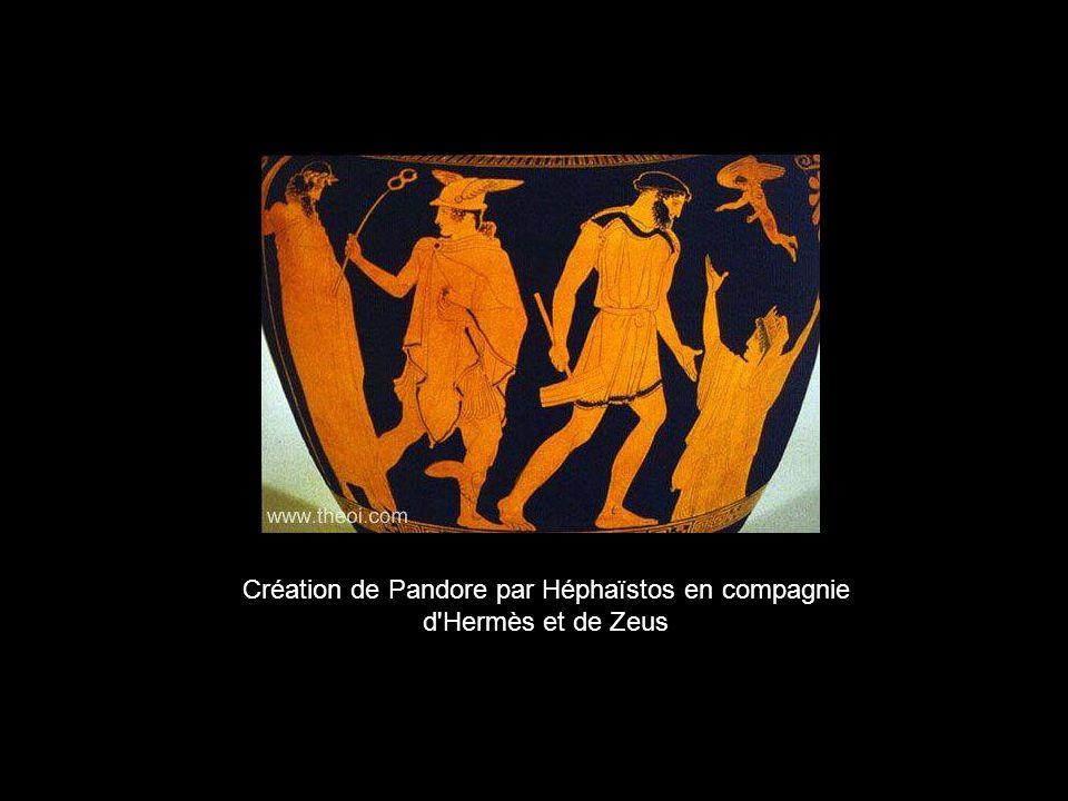 Création de Pandore par Héphaïstos en compagnie d'Hermès et de Zeus