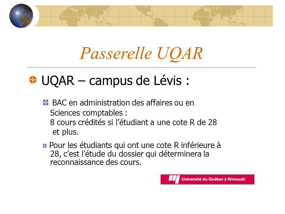 Passerelle UQAR ___________________________________________________________________________________________________________________ UQAR – campus de L