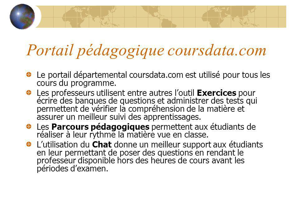 Portail pédagogique coursdata.com Le portail départemental coursdata.com est utilisé pour tous les cours du programme. Les professeurs utilisent entre