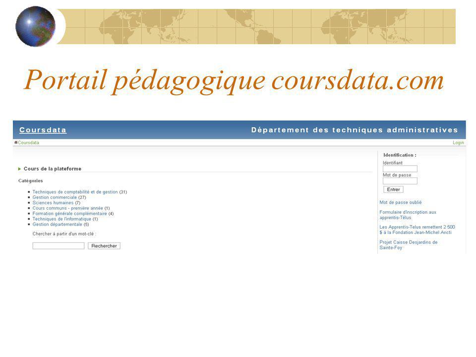 Portail pédagogique coursdata.com