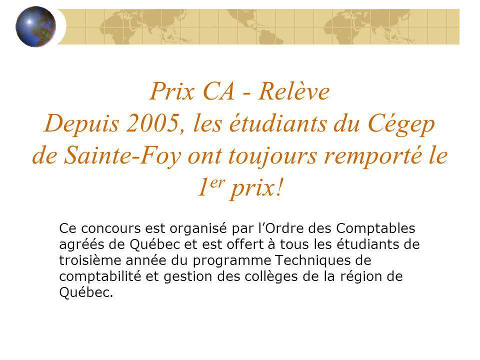 Prix CA - Relève Depuis 2005, les étudiants du Cégep de Sainte-Foy ont toujours remporté le 1 er prix! Ce concours est organisé par lOrdre des Comptab