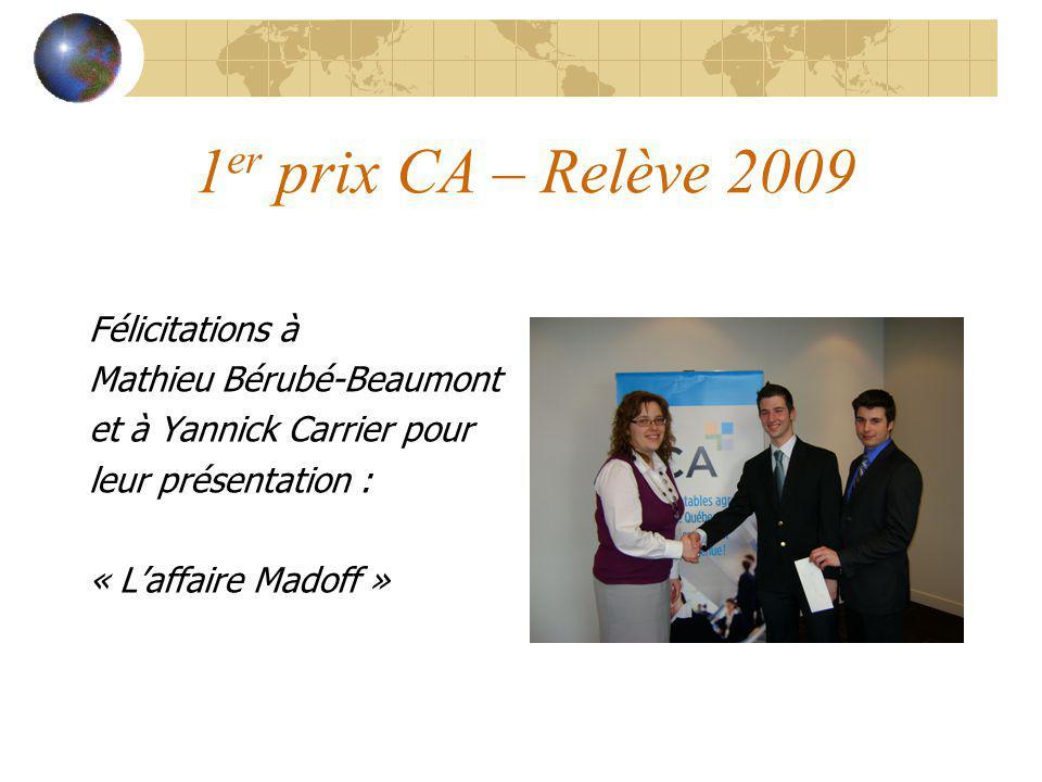 1 er prix CA – Relève 2009 Félicitations à Mathieu Bérubé-Beaumont et à Yannick Carrier pour leur présentation : « Laffaire Madoff »