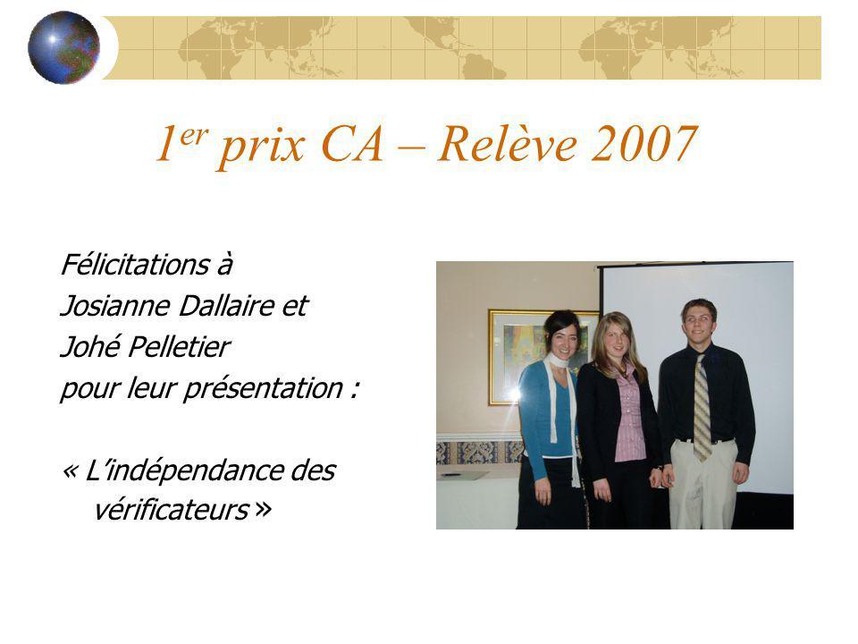 1 er prix CA – Relève 2007 Félicitations à Josianne Dallaire et Johé Pelletier pour leur présentation : « Lindépendance des vérificateurs »