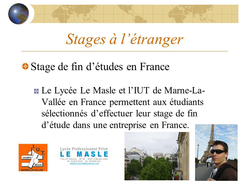Stages à létranger _______________________________________________________________________________________________________________________ Stage de fi