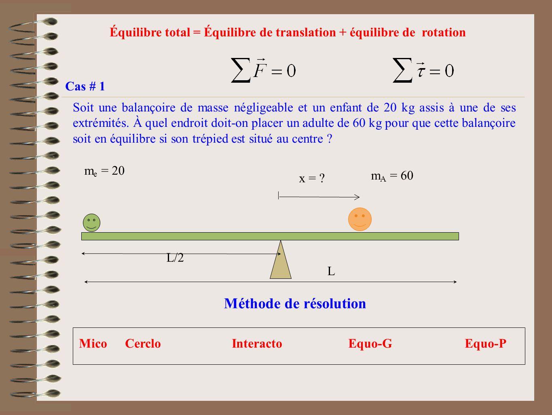 Équilibre total = Équilibre de translation + équilibre de rotation Cas # 1 Soit une balançoire de masse négligeable et un enfant de 20 kg assis à une