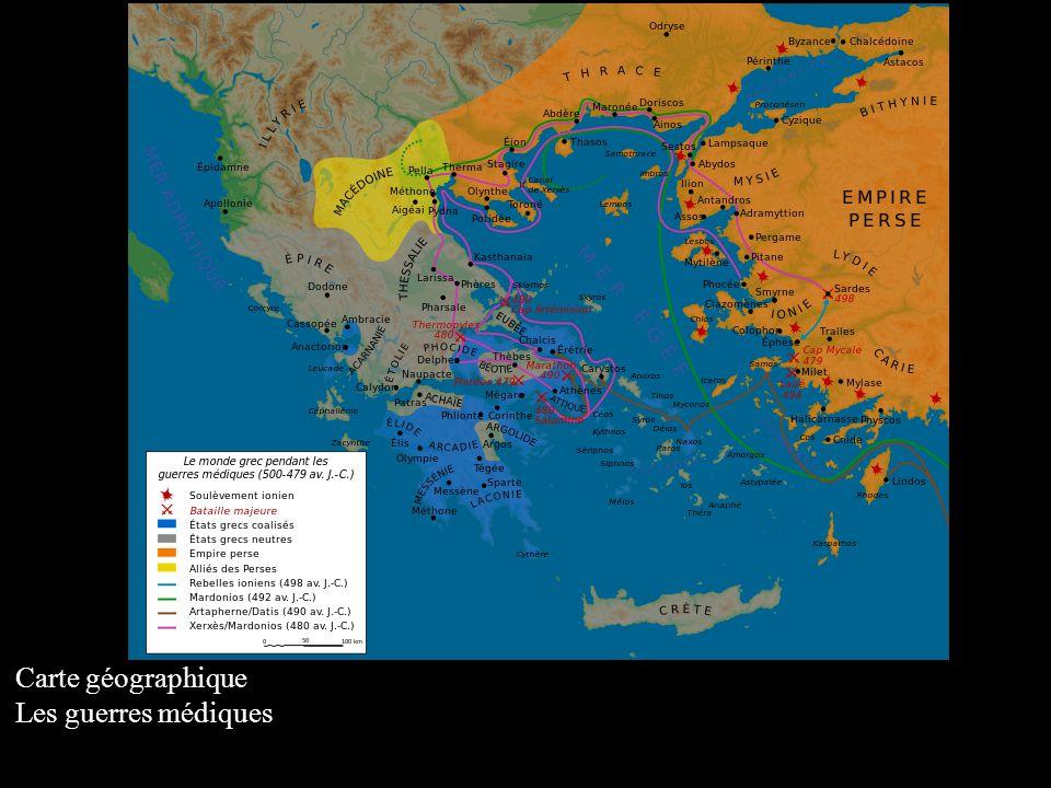 Carte géographique Les guerres médiques