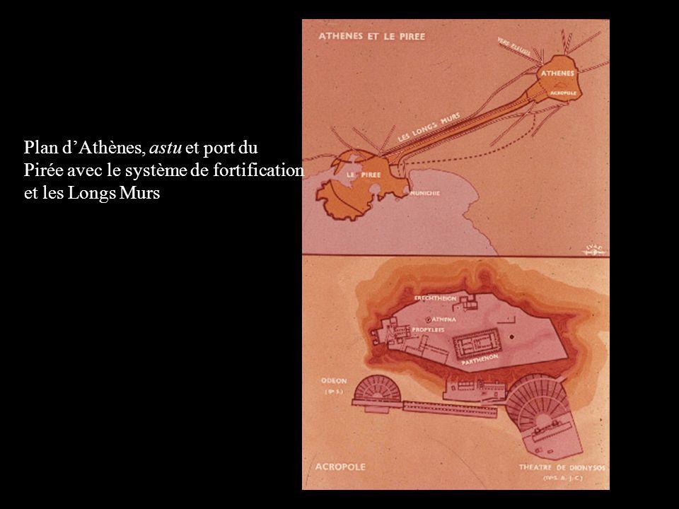 Plan dAthènes, astu et port du Pirée avec le système de fortification et les Longs Murs