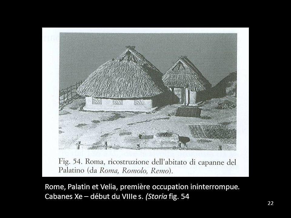 22 Rome, Palatin et Velia, première occupation ininterrompue. Cabanes Xe – début du VIIIe s. (Storia fig. 54