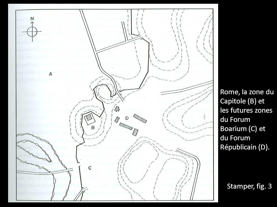 Stamper, fig. 3 Rome, la zone du Capitole (B) et les futures zones du Forum Boarium (C) et du Forum Républicain (D).