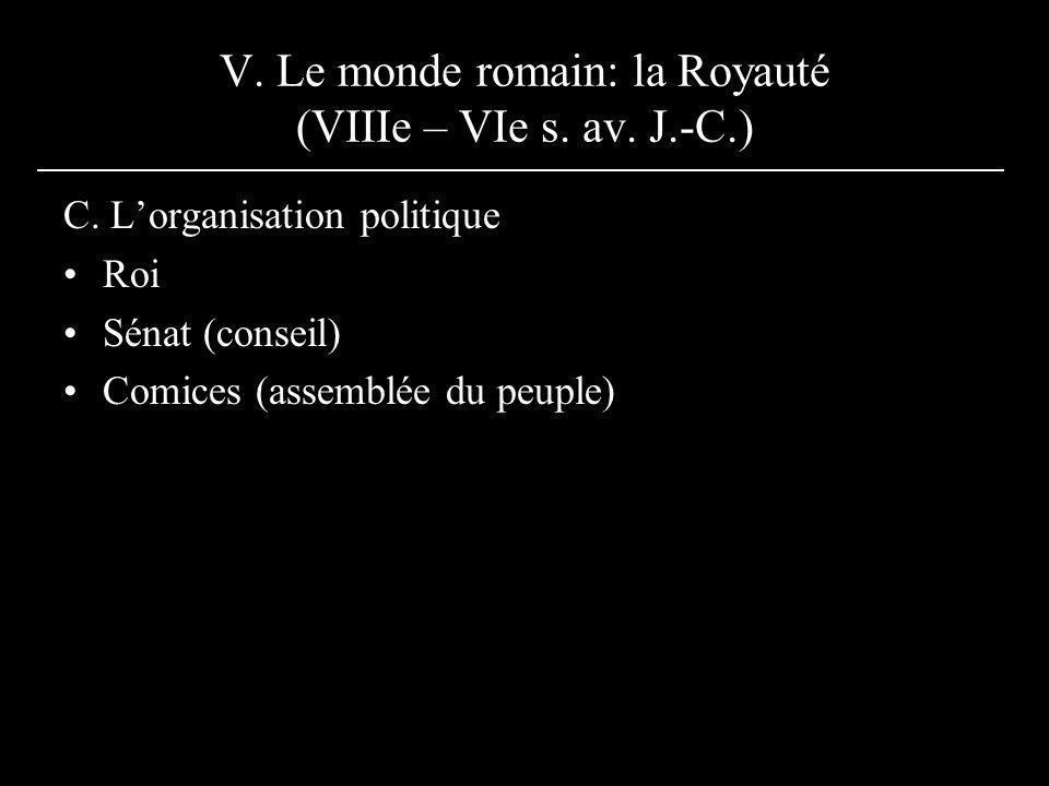 V. Le monde romain: la Royauté (VIIIe – VIe s. av. J.-C.) C. Lorganisation politique Roi Sénat (conseil) Comices (assemblée du peuple)