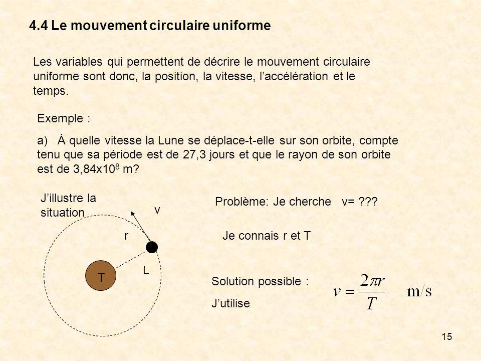 15 4.4 Le mouvement circulaire uniforme Les variables qui permettent de décrire le mouvement circulaire uniforme sont donc, la position, la vitesse, l