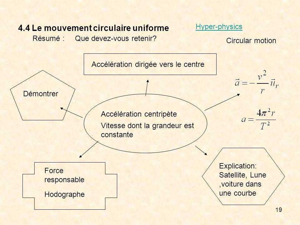 19 4.4 Le mouvement circulaire uniforme Résumé :Que devez-vous retenir? Accélération centripète Vitesse dont la grandeur est constante Accélération di