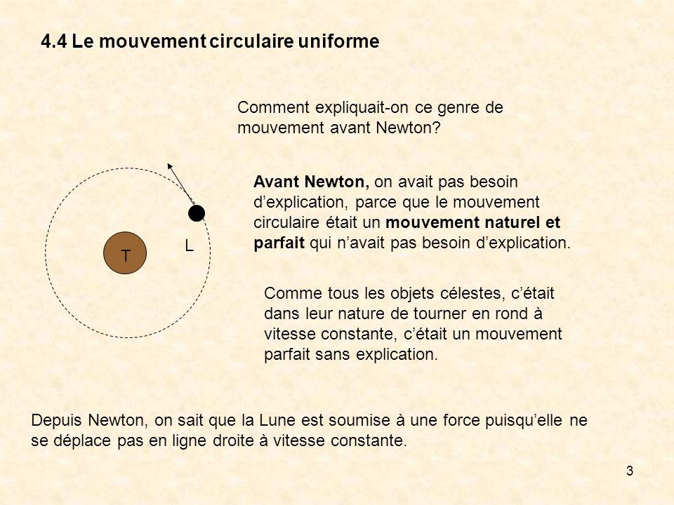 3 4.4 Le mouvement circulaire uniforme T L Comment expliquait-on ce genre de mouvement avant Newton? Avant Newton, on avait pas besoin dexplication, p