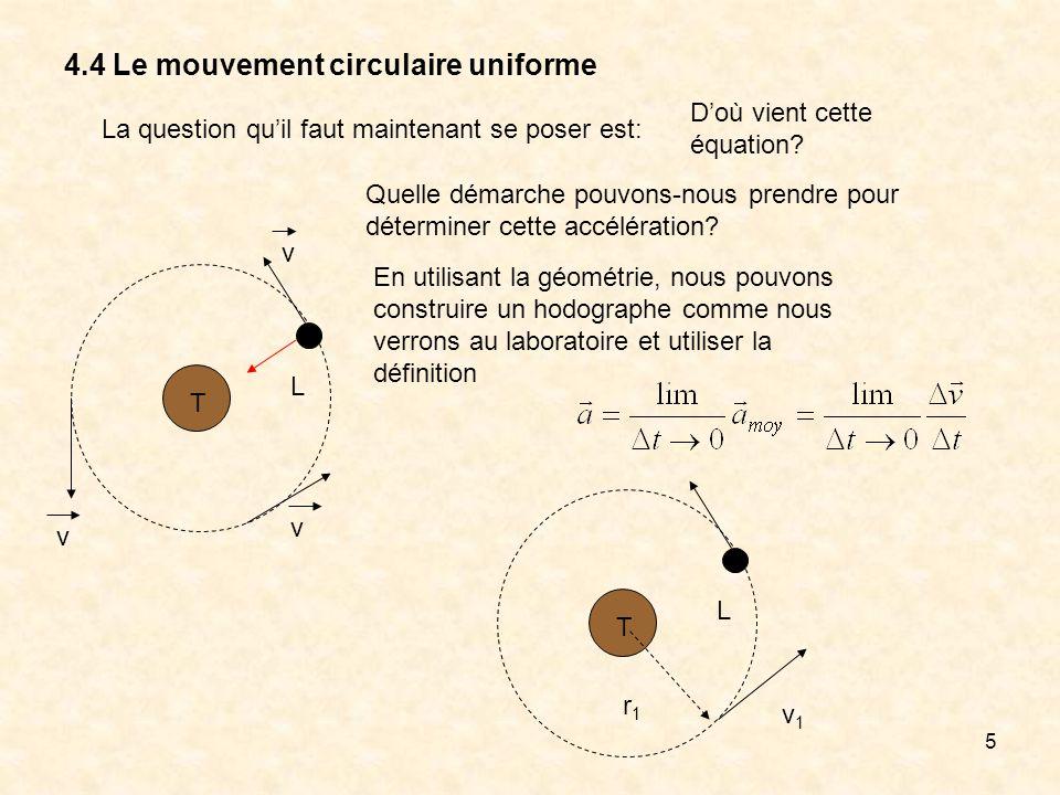 5 4.4 Le mouvement circulaire uniforme T L Quelle démarche pouvons-nous prendre pour déterminer cette accélération? En utilisant la géométrie, nous po
