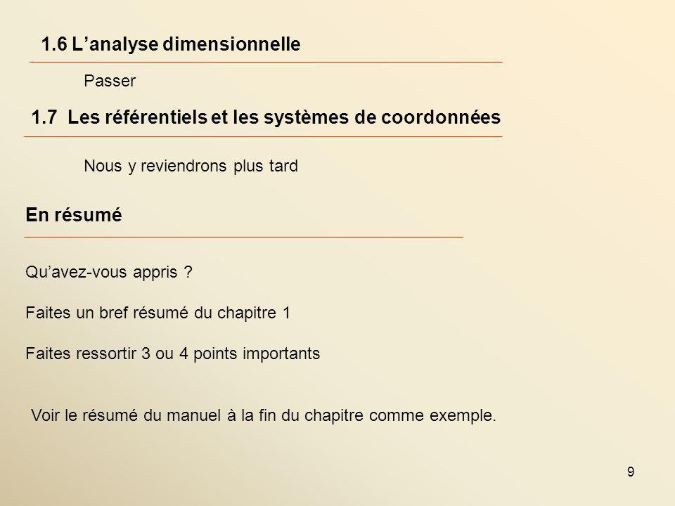 9 1.6 Lanalyse dimensionnelle 1.7 Les référentiels et les systèmes de coordonnées Passer Nous y reviendrons plus tard En résumé Quavez-vous appris .