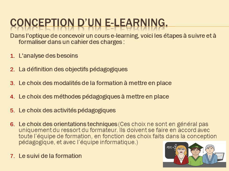 Dans l'optique de concevoir un cours e-learning, voici les étapes à suivre et à formaliser dans un cahier des charges : 1. L'analyse des besoins 2. La