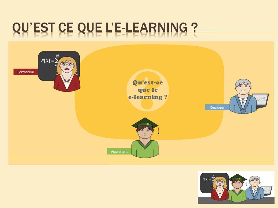 Le e-learning ou E-Formation que lon peut traduire par apprentissage ( learning ) par des moyens électroniques ( e ), est, selon la définition de la Commission Européenne, l« utilisation des nouvelles technologies multimédias et de lInternet pour améliorer la qualité de lapprentissage en facilitant laccès à des ressources et des services, ainsi que les échanges et la collaboration à distance ».