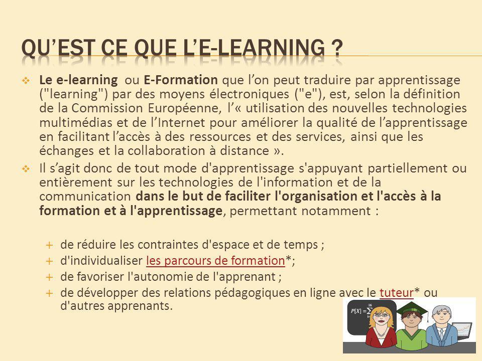 Le e-learning ou E-Formation que lon peut traduire par apprentissage (