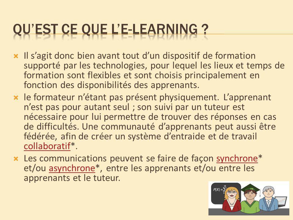Le e-learning peut être utilisé de façon combinée au mode de formation présentiel* et ainsi créer une formation dite mixte ou en blended learning*.