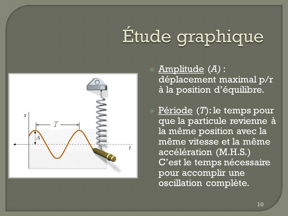 Amplitude (A) : déplacement maximal p/r à la position déquilibre. Période (T): le temps pour que la particule revienne à la même position avec la même