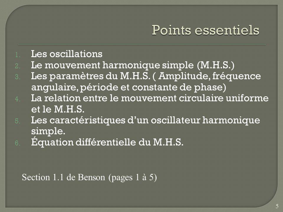 1. Les oscillations 2. Le mouvement harmonique simple (M.H.S.) 3. Les paramètres du M.H.S. ( Amplitude, fréquence angulaire, période et constante de p