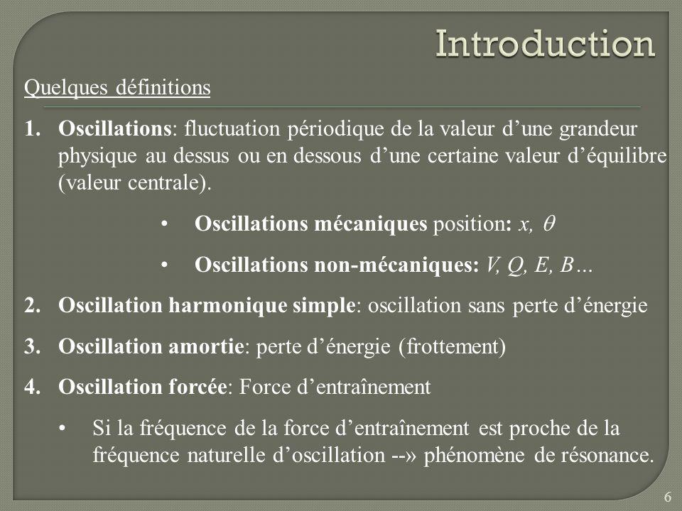 Quelques définitions 1.Oscillations: fluctuation périodique de la valeur dune grandeur physique au dessus ou en dessous dune certaine valeur déquilibr