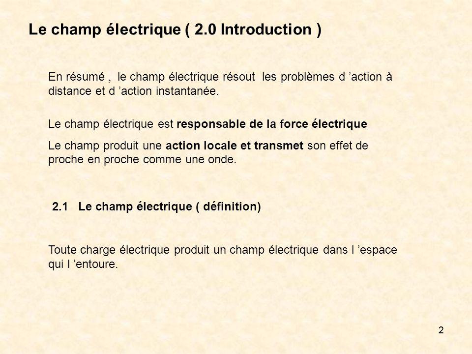 22 Le champ électrique ( 2.0 Introduction ) En résumé, le champ électrique résout les problèmes d action à distance et d action instantanée. Le champ