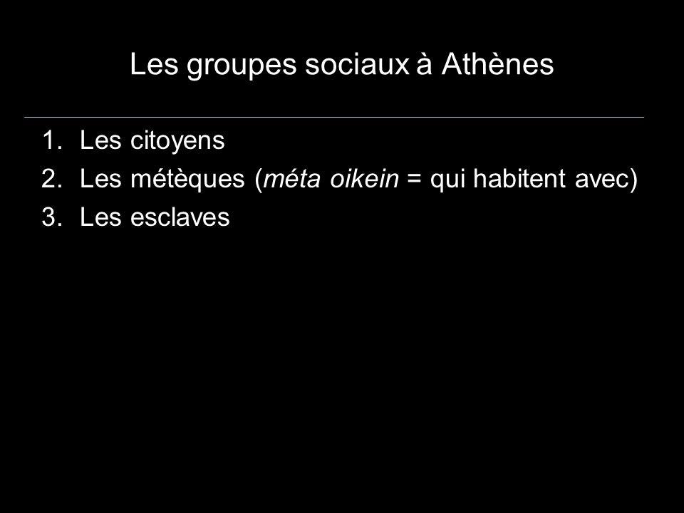 Les groupes sociaux à Athènes 1.Les citoyens 2.Les métèques (méta oikein = qui habitent avec) 3.Les esclaves